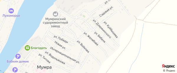 Улица Желябова на карте села Мумры Астраханской области с номерами домов