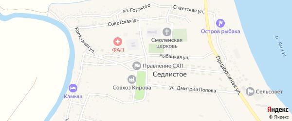 Улица Кирова на карте Седлистого села Астраханской области с номерами домов
