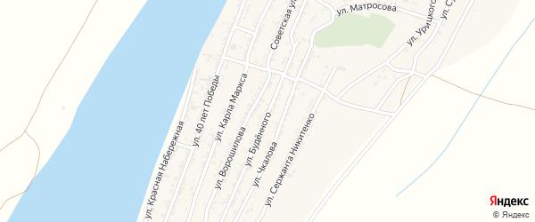 Улица Буденного на карте села Трудфронта Астраханской области с номерами домов