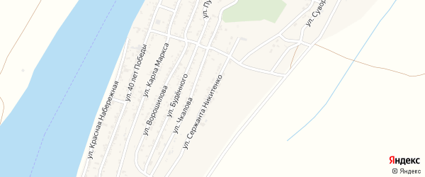Улица Сержанта Никитенко на карте села Трудфронта Астраханской области с номерами домов