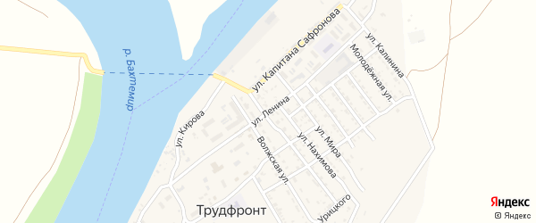 Улица Ленина на карте села Трудфронта Астраханской области с номерами домов