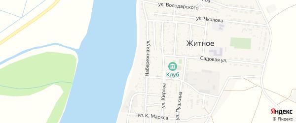 Набережная улица на карте Житного села Астраханской области с номерами домов