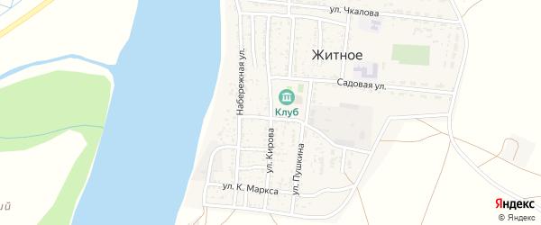 Улица Кирова на карте Житного села Астраханской области с номерами домов