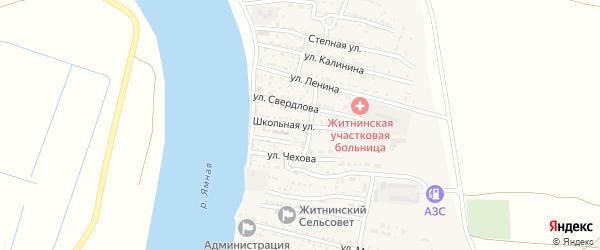 Школьная улица на карте Житного села Астраханской области с номерами домов