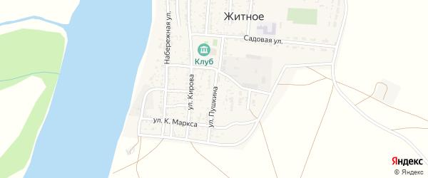 Улица Пушкина на карте Житного села Астраханской области с номерами домов