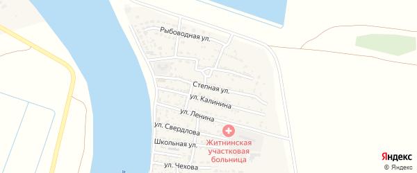 Степная улица на карте Житного села Астраханской области с номерами домов