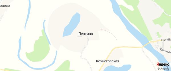 Карта деревни Пенкино в Архангельской области с улицами и номерами домов