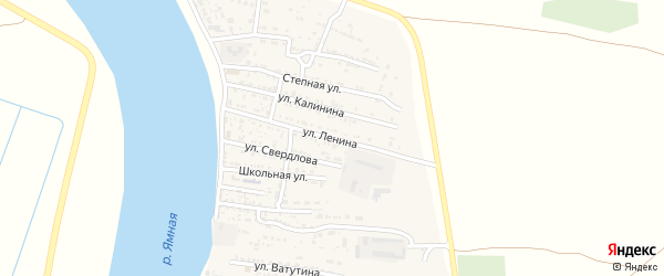 Улица Ленина на карте Житного села Астраханской области с номерами домов