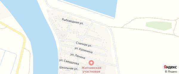 Комсомольская улица на карте Житного села Астраханской области с номерами домов