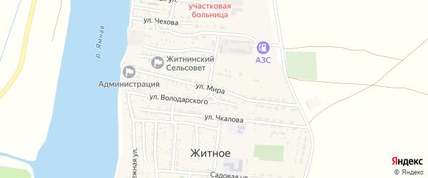 Улица Мира на карте Житного села Астраханской области с номерами домов