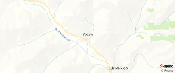 Карта села Урсуна в Дагестане с улицами и номерами домов