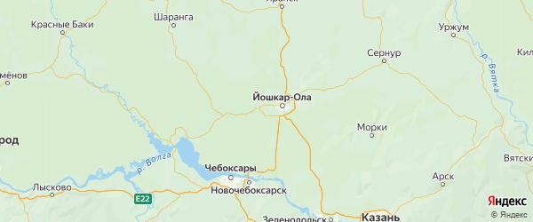Карта Медведевского района Республики Марий Эл с городами и населенными пунктами