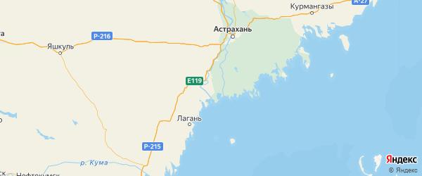 Карта Икрянинского района Астраханской области с городами и населенными пунктами