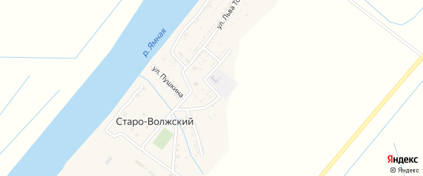 Школьная улица на карте Старо-волжского поселка Астраханской области с номерами домов