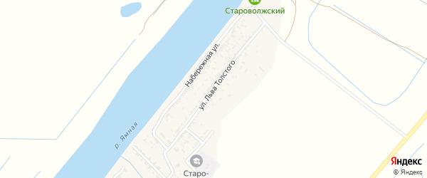 Улица Л.Толстого на карте Старо-волжского поселка Астраханской области с номерами домов