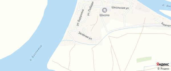 Зеленая улица на карте Ямного села Астраханской области с номерами домов