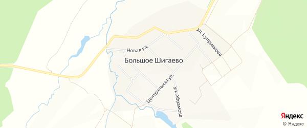 Карта деревни Большого Шигаево в Чувашии с улицами и номерами домов