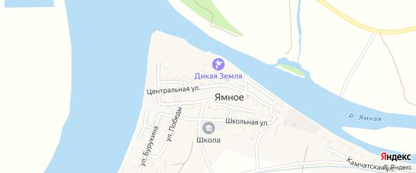 Центральная улица на карте Ямного села Астраханской области с номерами домов