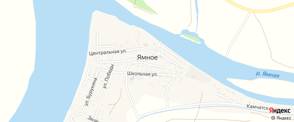 Камчатская улица на карте Ямного села Астраханской области с номерами домов
