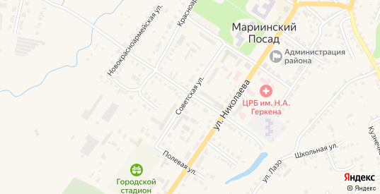 Улица Успенского в Мариинском Посаде с номерами домов на карте. Спутник и схема онлайн