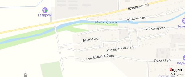 Лесная улица на карте Икряного села Астраханской области с номерами домов