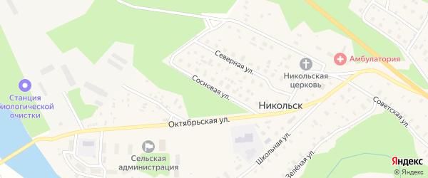 Сосновая улица на карте села Никольска Архангельской области с номерами домов