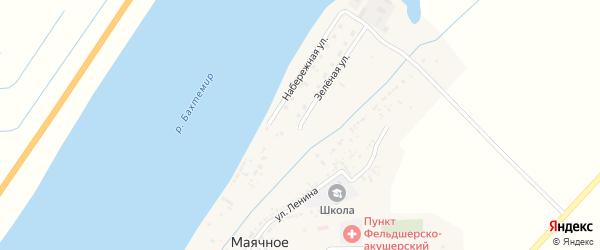 Зеленая улица на карте Маячного села Астраханской области с номерами домов