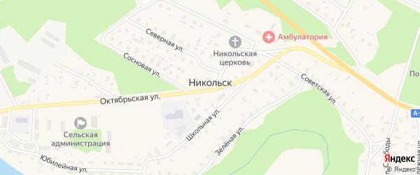 Зеленая улица на карте села Никольска Архангельской области с номерами домов