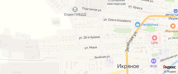 Улица 28 Армии на карте Икряного села Астраханской области с номерами домов
