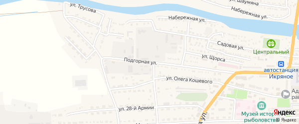 Подгорная улица на карте Икряного села Астраханской области с номерами домов