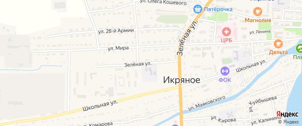 Зеленая улица на карте Икряного села Астраханской области с номерами домов