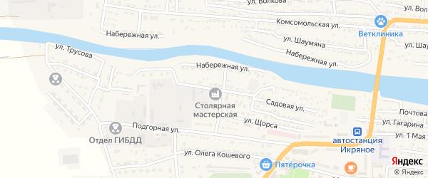 Улица Молодой Гвардии на карте Икряного села Астраханской области с номерами домов