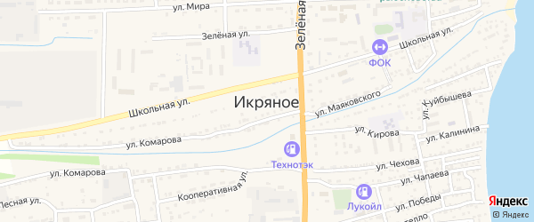 Восточная улица на карте Икряного села Астраханской области с номерами домов