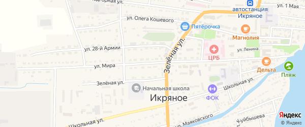 Улица Мира на карте Икряного села Астраханской области с номерами домов