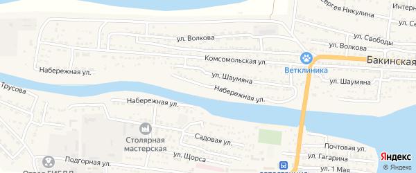 Набережная улица на карте Икряного села Астраханской области с номерами домов