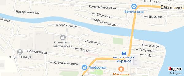 Улица Жданова на карте Икряного села Астраханской области с номерами домов