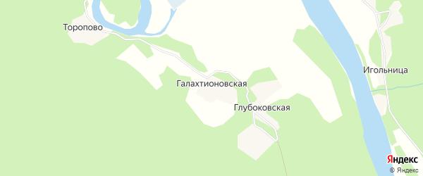 Карта Галахтионовской деревни в Архангельской области с улицами и номерами домов