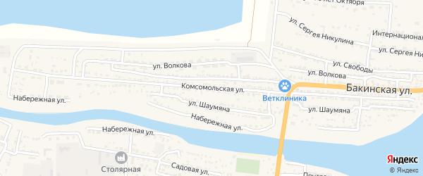 Комсомольская улица на карте Икряного села Астраханской области с номерами домов
