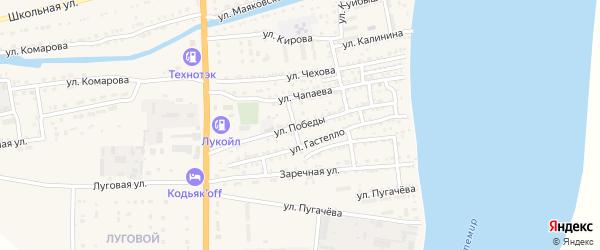 Улица Победы на карте Икряного села Астраханской области с номерами домов