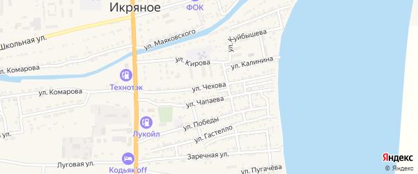 Улица Чехова на карте Икряного села Астраханской области с номерами домов
