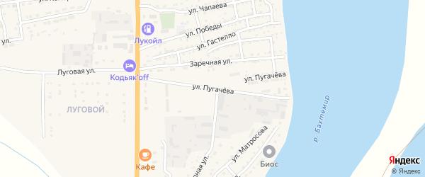 Улица Пугачева на карте Икряного села Астраханской области с номерами домов