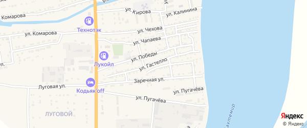 Улица Гастелло на карте Икряного села Астраханской области с номерами домов