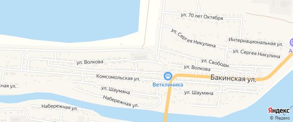 Улица Волкова на карте Икряного села Астраханской области с номерами домов