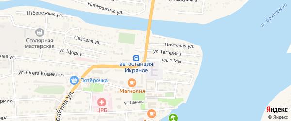 1 Мая улица на карте Икряного села Астраханской области с номерами домов