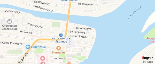 Улица Гагарина на карте Икряного села Астраханской области с номерами домов