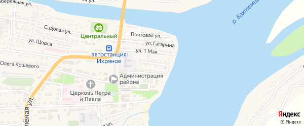 Крупская улица на карте Икряного села Астраханской области с номерами домов
