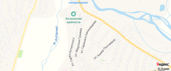 Улица Г.Ханахмедова на карте села Ахт с номерами домов