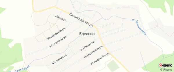 Карта села Еделево в Ульяновской области с улицами и номерами домов