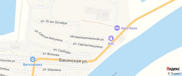 Интернациональная улица на карте Икряного села Астраханской области с номерами домов