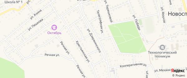 Улица Дзержинского на карте поселка Новоспасского Ульяновской области с номерами домов